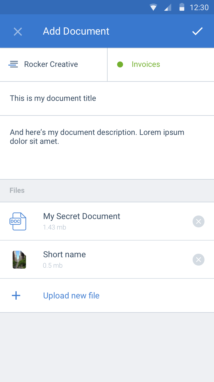 Screenshot: Android view of adding document